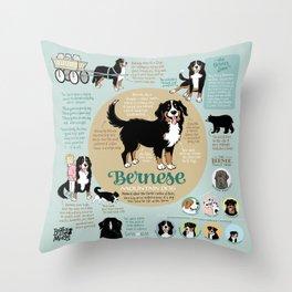 Bernese Mountain Dog Infographic Throw Pillow
