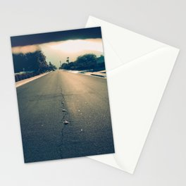 street leading to horizon at sunset Stationery Cards