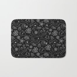 Cephalopods - Black and White Bath Mat
