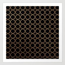Elegant black faux gold glitter chic quatrefoil vector illustration Art Print