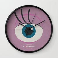 monster inc Wall Clocks featuring Monster, Inc. - Pink (Vintage) by Lemontrend Studio