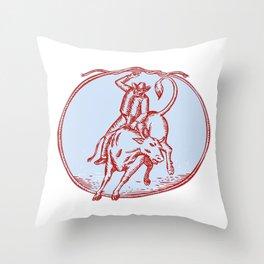 Rodeo Cowboy Bull Riding Circle Etching Throw Pillow