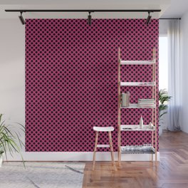 Pink Yarrow and Black Polka Dots Wall Mural