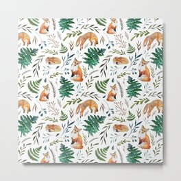 Foxes and Ferns Pattern Metal Print