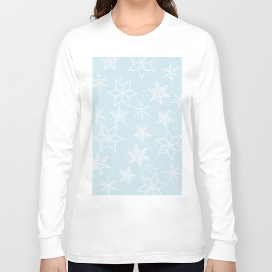 Snowflakes on light blue background Long Sleeve T-shirt