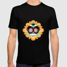 Dia de los Muertos Calavera  Black MEDIUM Mens Fitted Tee