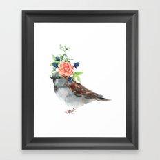 Boho Chic wild bird With Flower Crown Framed Art Print