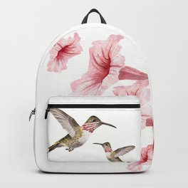 hummingbirds and pink flowers 2 Backpack