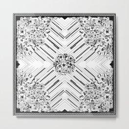 Textile square and flower bouquet Metal Print
