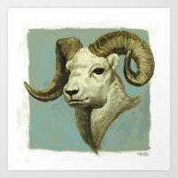 ram Art Prints featuring Ram by Merz