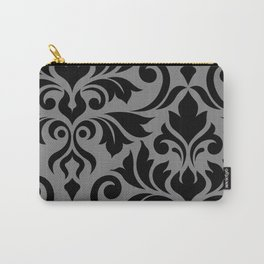 Flourish Damask Art I Black on Gray Carry-All Pouch