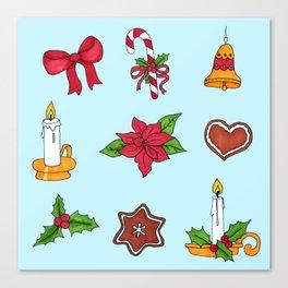 Christmas pattern (#2 blue) Canvas Print