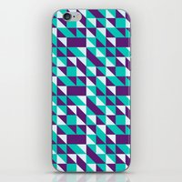 spires iPhone & iPod Skins featuring PURPLE TURQUOISE SPIRES  by Oksana Smith