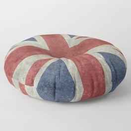 UK Flag, Dark grunge 3:5 scale Floor Pillow