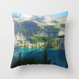 Lake Oeschinen, Switzerland, Bergsee Mountains Photographic Throw Pillow