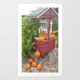 Pumpkins by the Well Art Print