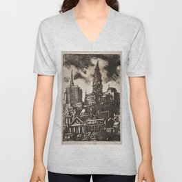African American Masterpiece 'View of Philadelphia with City Hall' by Dox Thrash Unisex V-Neck