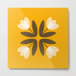 Tulips from Amsterdam in Mustard Yellow Metal Print