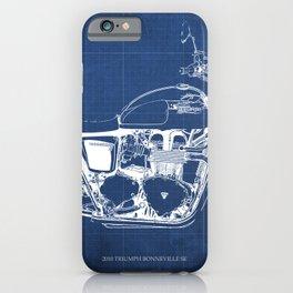 2010 Triumph Bonneville SE, motorcycle blueprint, husbands gift, offer, original poster, fathers day iPhone Case