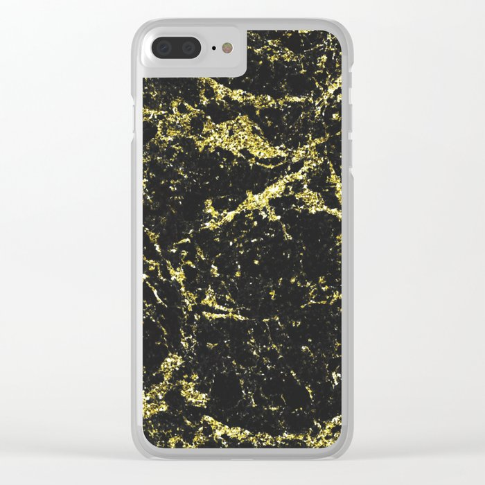 Black and Gold Marble Clear iPhone Case