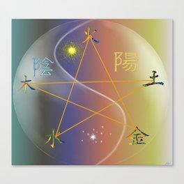 Feng Shui five elements Multi Colored Canvas Print