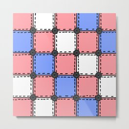 Vintage Style Quilt - Red, Blue, White - Doodle Art Metal Print