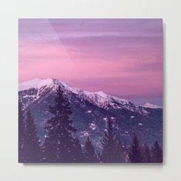 PIcturesque Sunset over the Snowy Mountains Metal Print