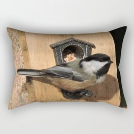 Black-Capped Chickadee at the Feeder Rectangular Pillow