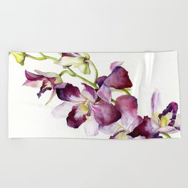 Radiant Orchids: Magenta Dendrobiums (Flipped Orientation) Beach Towel