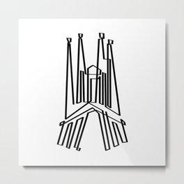 Sagrada Familia in one draw (black version) Metal Print