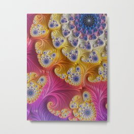 Pink Purple & Orange Swirls Metal Print