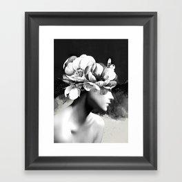 Floral Portrait-black and white Framed Art Print