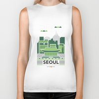 seoul Biker Tanks featuring City Illustrations (Seoul, South Korea) by Nuthon Design