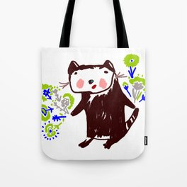 A little otter with flowers Tote Bag