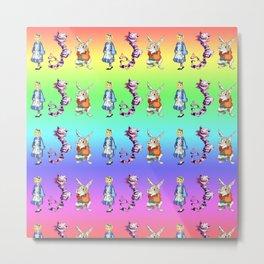 Alice, Cat, Rabbit Graphic Pattern Metal Print