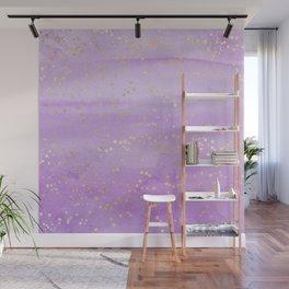 Lavender Watercolor Gold Stars Wall Mural