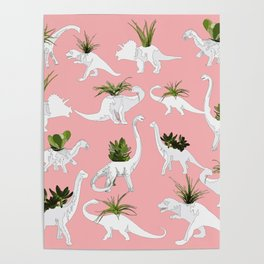 Dinosaurs & Succulents Poster