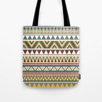 aztec Tote Bags featuring Aztec by Dianne Delahunty