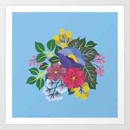January Florals on Blue Art Print