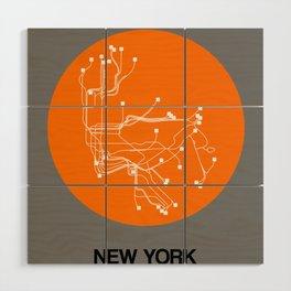 New York Orange Subway Map Wood Wall Art