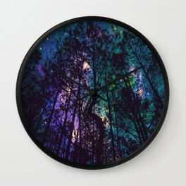 Black Trees Colorful Teal Space Wall Clock