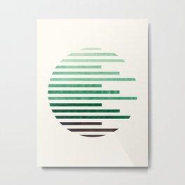 Mid Century Modern Minimalist Circle Round Photo Aquamarine Teal Green Staggered Stripe Pattern Metal Print