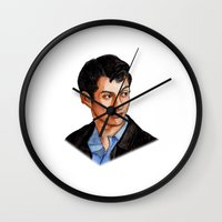 alex turner Wall Clocks featuring Alex Turner by Janet Datu
