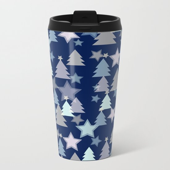 Christmas Landscape blue Metal Travel Mug