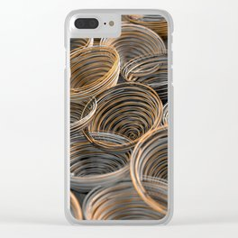 Black, white and orange spiraled coils Clear iPhone Case