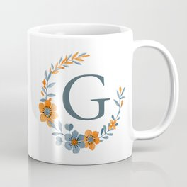 Monogram G Orange Autumn Floral Wreath Coffee Mug