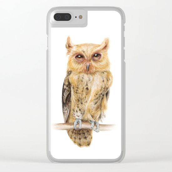 Owl Watercolour Print | Philippine Scops Owl Clear iPhone Case