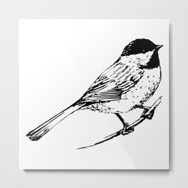 Little Bird In Black Minimalist Nature Metal Print