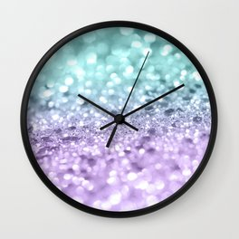 Aqua Purple MERMAID Girls Glitter #1 #shiny #decor #art #society6 Wall Clock