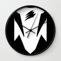 power ranger Wall Clocks featuring Black Spirit Ranger by JoSumdac